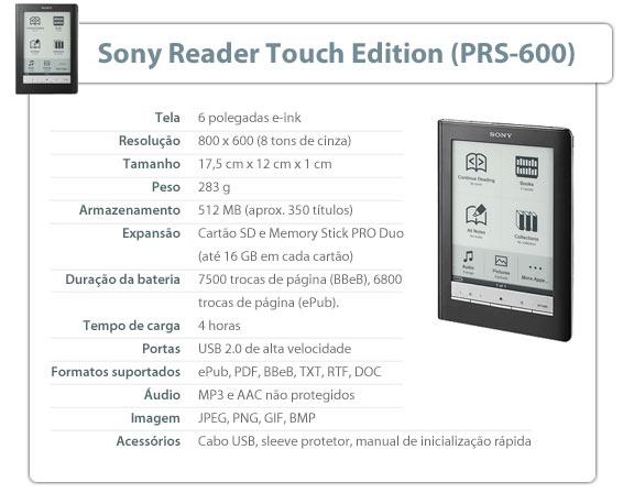 Especificações do Sony Reader Touch Edition