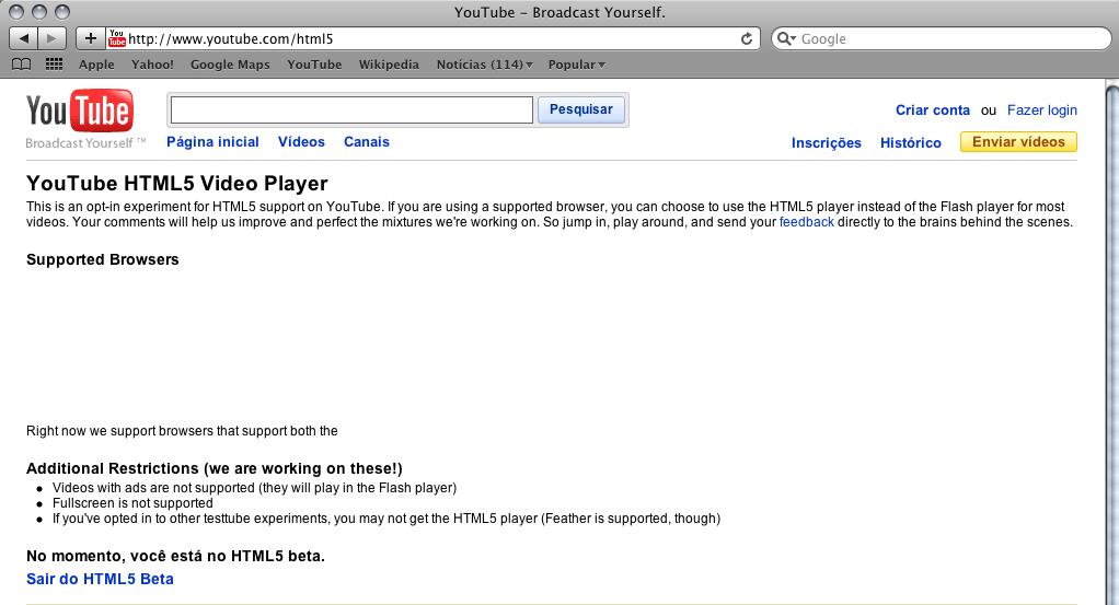 YouTube e HTML5