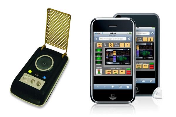 Comunicador de Star Trek e iPhone com app tricorder. Imagens: Trekbrasilis/Divulgação.