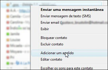 Renomeie seus contatos do MSN