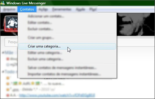 Crie categorias no MSN