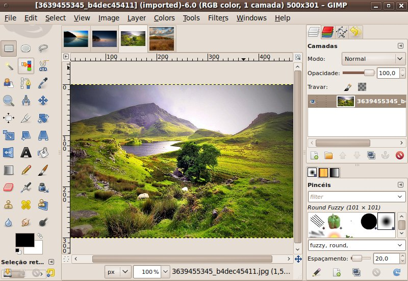 A interface de janela única do GIMP 2.7