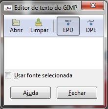 A janela de  formatação de texto que o GIMP utiliza não é nada prática!