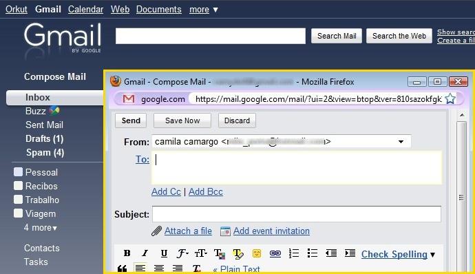 O Gmail e sua janela extra