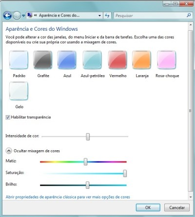 Aparência e cores do Windows
