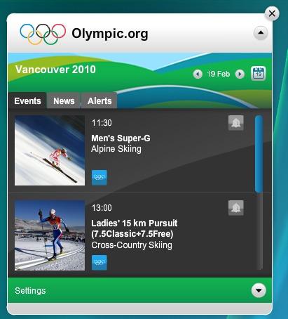 O Widget oficial de Vancouver 2010.
