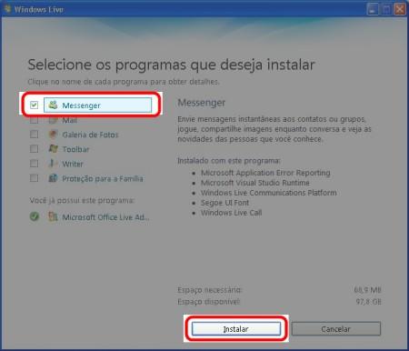 Selecione o Messenger na instalação