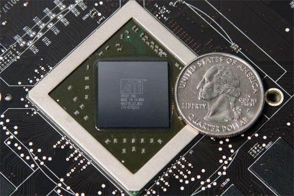 Processador em comparação com um quarter americano