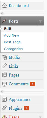 Insira os plugins no menu do Wordpress