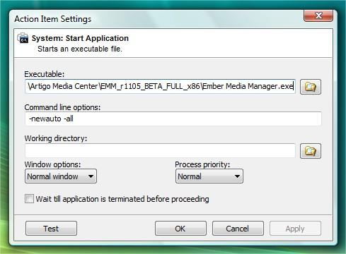 Configurando o EventGhost para o Ember Media Manager.