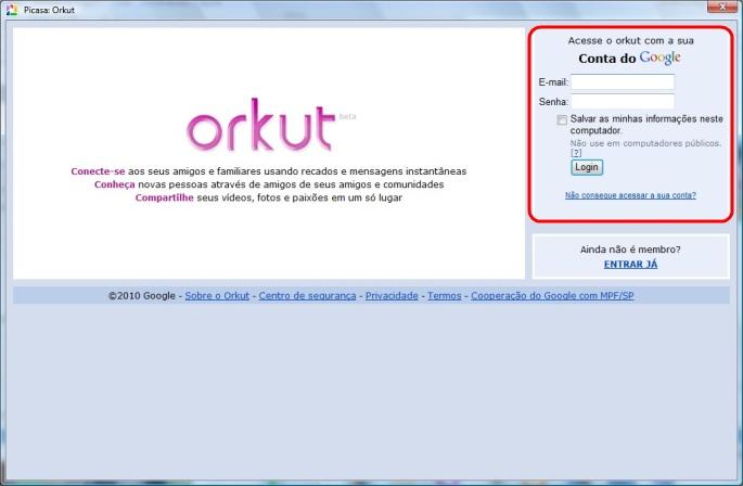 Autorize o Orkut.