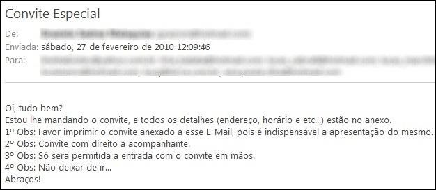 Spam malicioso enviado via email