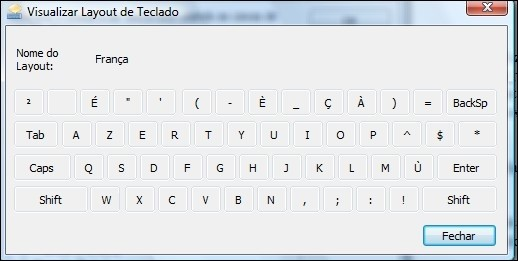 Visualizando o layout do teclado