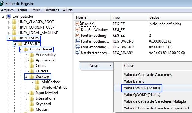 Janela de Edição do registro do Windows.