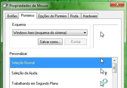 É aqui que você muda o cursor do mouse.