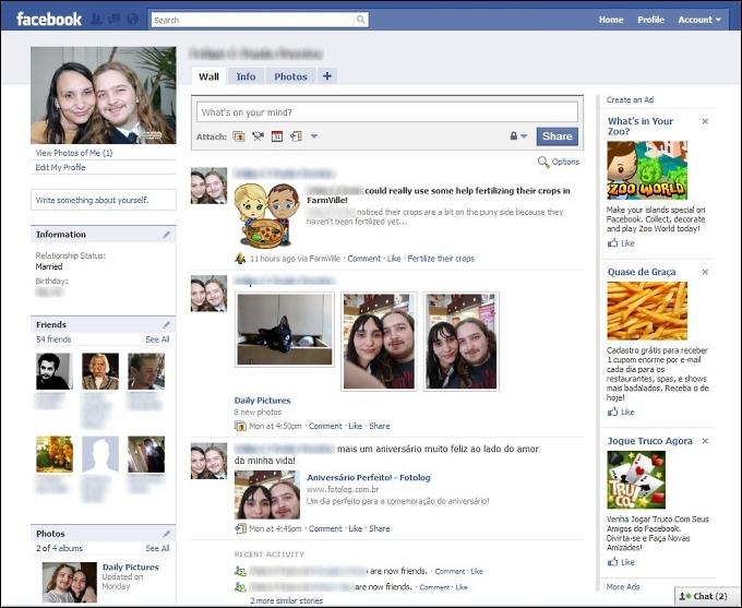 Página de perfil do Facebook