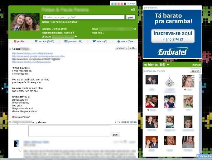 Página de perfil do Orkut