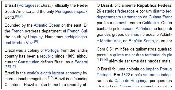 Inglês vs. Português