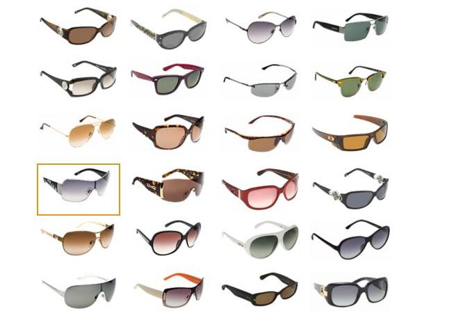Todos os modelos de óculos existentes.