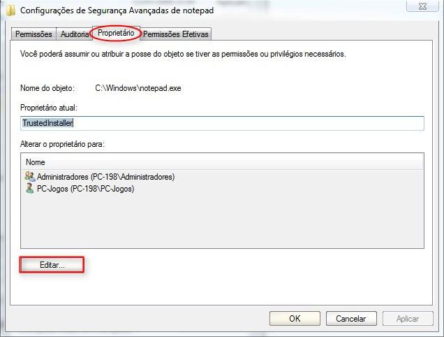 Proprietário > Editar