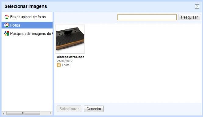 Enviar pelo Picasa  Web