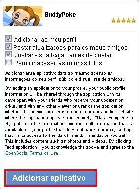 Adicione o  aplicativo ao seu Orkut