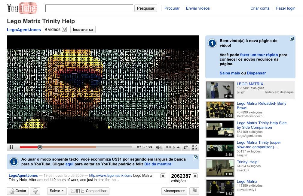 YouTube com ASCII durante a versão TEXTp.