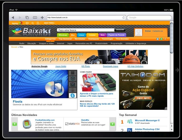 Teste sites no iPad