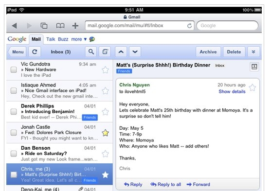 Gmail no iPad