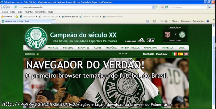 Internet Explorer 8  customizado do Palmeiras