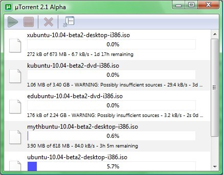 Interface mínima do uTorrent