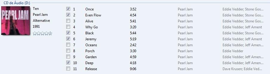 Escolha as canções desejadas