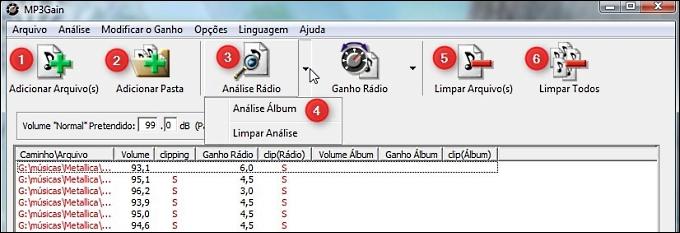 Botões da Barra de ferramentas do MP3Gain