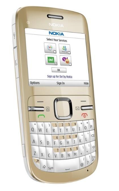 Nokia C3 na cor branco-gelo