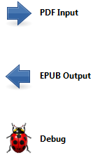 PDF Input, EPUB output e Debug