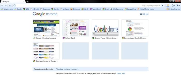 O Google Chrome com configurações definidas