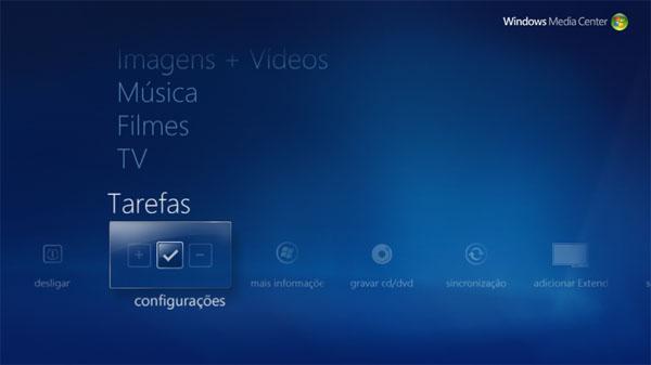 Abrindo o Windows Media Center