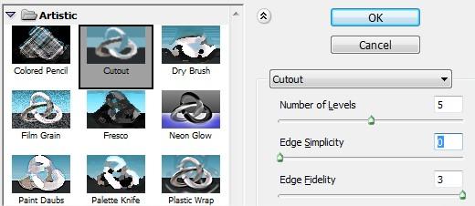 Aplicando o filtro cutout novamente