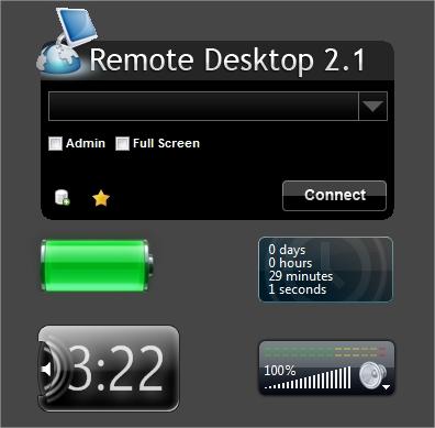Vários widgets instalados