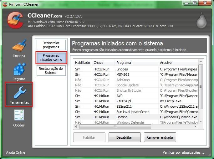 Configure programas que devem ou não iniciar junto com o Windows