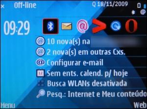 Página incial do Nokia com Symbian
