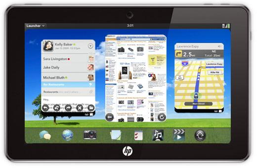 Montagem do Baixaki do WebOS em um HP Slate, mostrando os cartões de aplicativo
