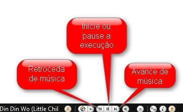 Utilize os botões explicitados para manipular as músicas