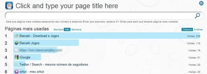 Sites mais acessados a cada aba