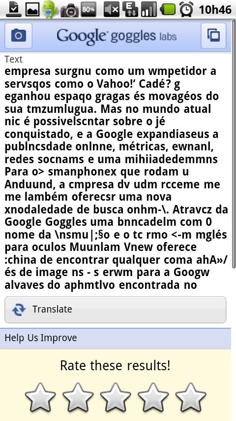 Texto transcrito erroneamente pelo Google Goggles