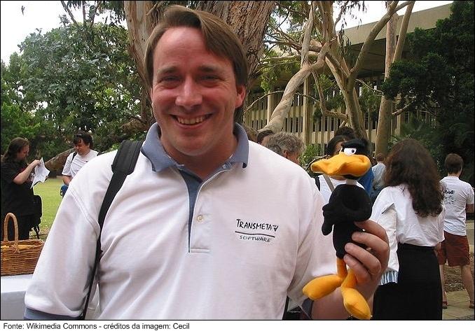 Linus em uma conferência no ano de 2002.