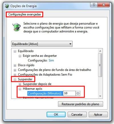 Hibernação automática no Windows 7