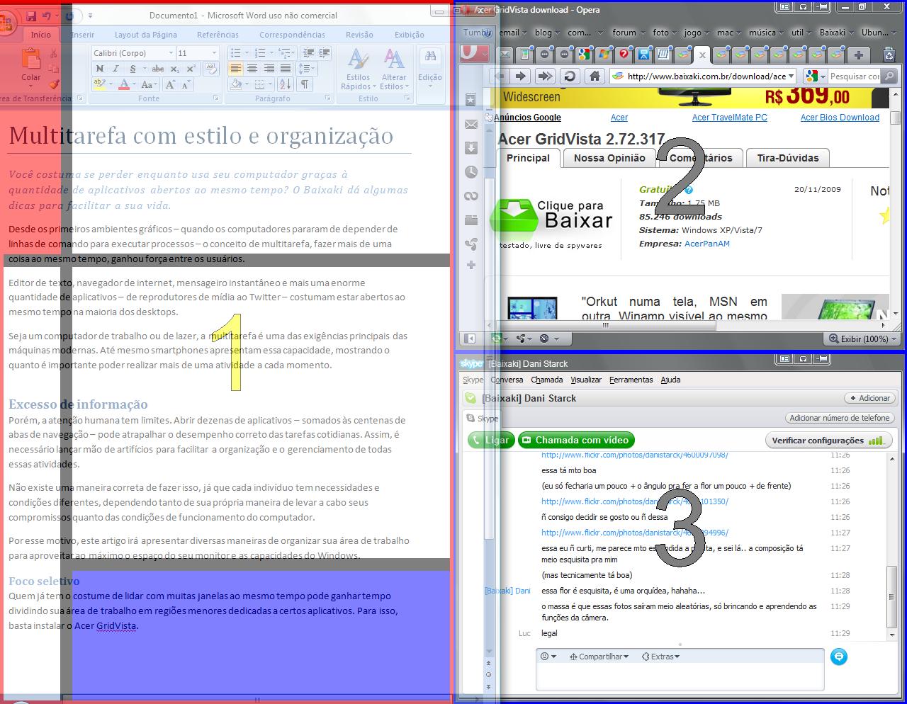Limitando a área dos aplicativos com o Acer GridVista