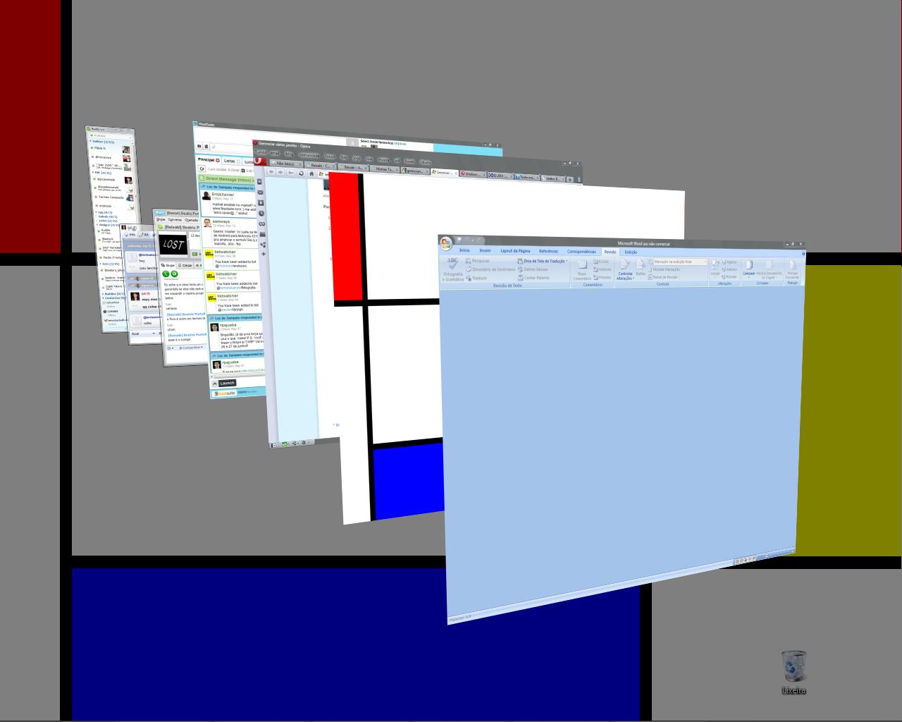 O atalho Win+Tab do Windows 7 ou Vista cria uma visualização 3D das janelas abertas
