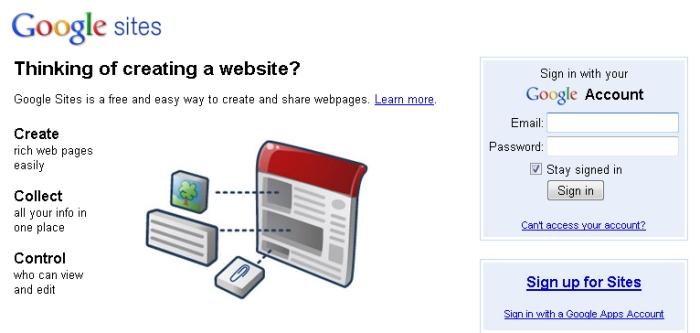 Use seu login da Google e crie sua página.